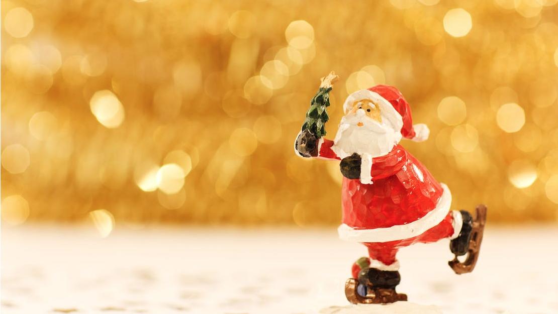 Santa claus ice-skating